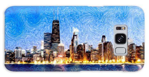 Swirly Chicago At Night Galaxy Case