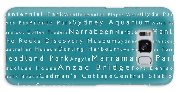Sydney In Words Teal Galaxy Case by Sabine Jacobs
