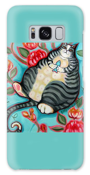 Tabby Cat On A Cushion Galaxy Case