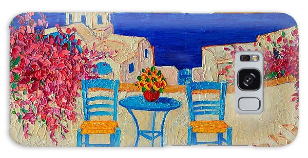 Table For Two In Santorini Greece Galaxy Case