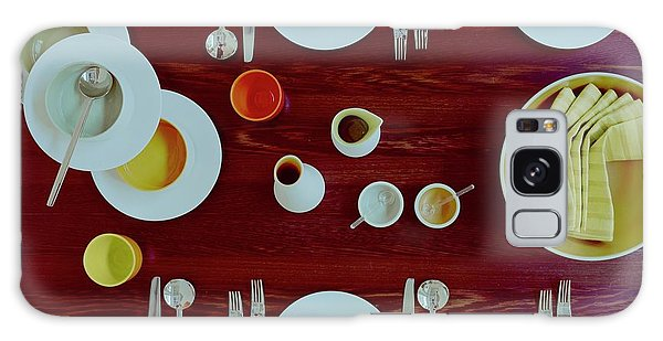 Tableware Set On A Wooden Table Galaxy Case