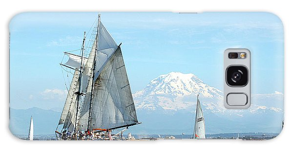 Tall Ship And Mount Rainier Galaxy Case by John Bushnell