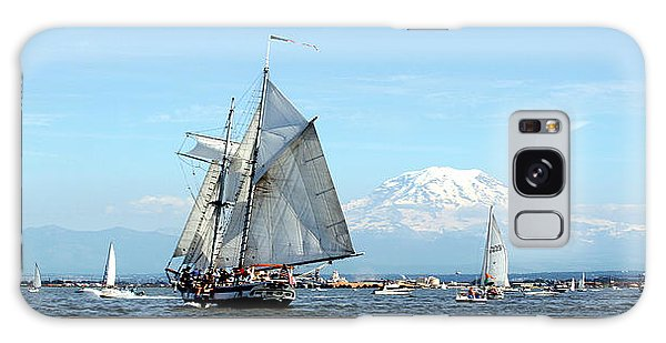 Tall Ship And Mt. Rainier Galaxy Case by John Bushnell