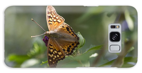Tawny Emperor On Hibiscus Galaxy Case by Shelly Gunderson