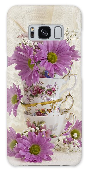 Tea Cups And Daisies  Galaxy Case by Sandra Foster