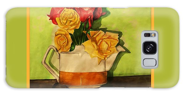 Tea Roses Bordered Galaxy Case
