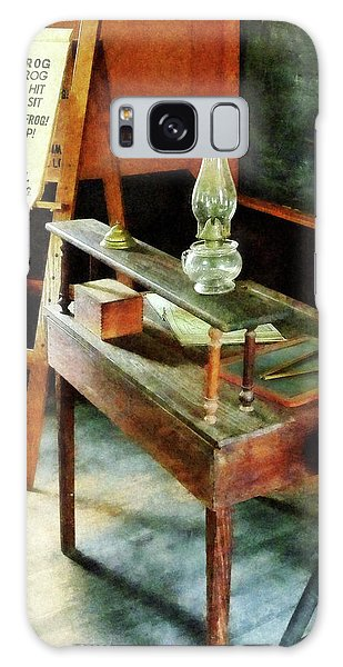 Teacher - Teacher's Desk With Hurricane Lamp Galaxy Case