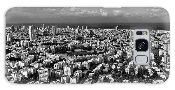 Tel Aviv Center Black And White Galaxy Case by Ron Shoshani