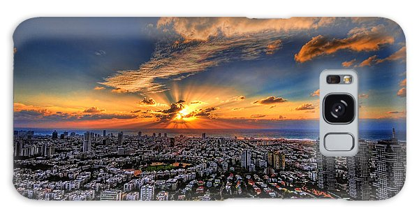 Galaxy Case featuring the photograph Tel Aviv Sunset Time by Ron Shoshani