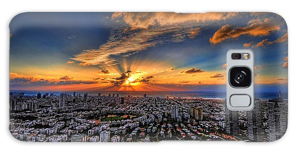 Tel Aviv Sunset Time Galaxy Case by Ron Shoshani