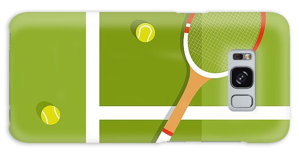 Horizontal Galaxy Case - Tennis Racquet And Balls Are On The by Ilya Glukhov