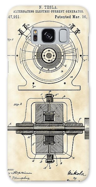 Tesla Alternating Electric Current Generator Patent 1891 - Vintage Galaxy Case by Stephen Younts