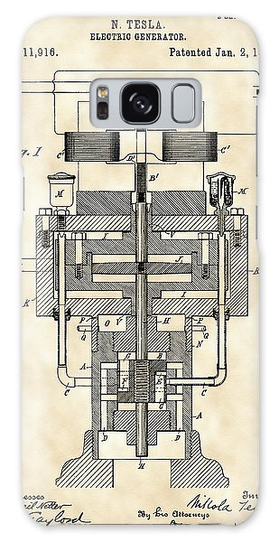 Tesla Electric Generator Patent 1894 - Vintage Galaxy Case by Stephen Younts
