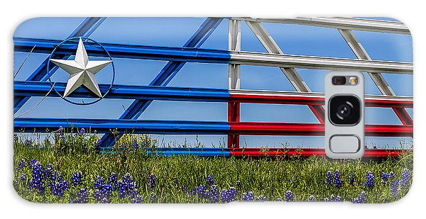 Texas Flag Painted Gate With Blue Bonnets Galaxy Case