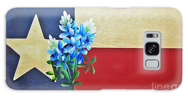 Texas Flag With Bluebonnets Galaxy Case by Jimmie Bartlett