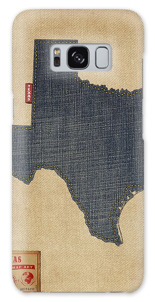 Texas Map Denim Jeans Style Galaxy Case by Michael Tompsett