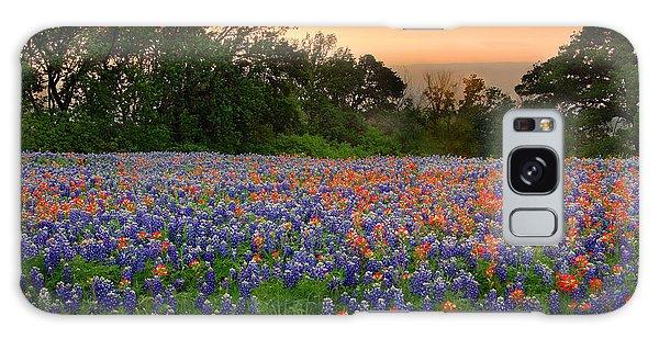 Texas Sunset - Bluebonnet Landscape Wildflowers Galaxy Case
