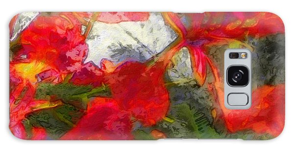 Textured Flamboyant Flowers - Square Galaxy Case by Lyn Voytershark