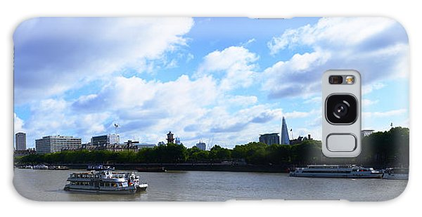 Thames With Blue Sky And Puffy Clouds Galaxy Case
