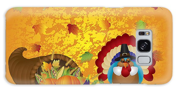 Thanksgiving Day Feast Cornucopia Turkey Pilgrim With Background Galaxy Case