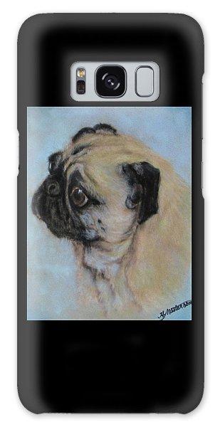 Pug's Worried Look Galaxy Case by Harriett Masterson
