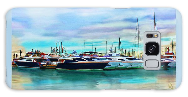 Galaxy Case featuring the painting The Boats Of Malaga Spain by Deborah Boyd