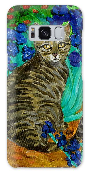 The Cat At Van Gogh's Irises Garden Galaxy Case