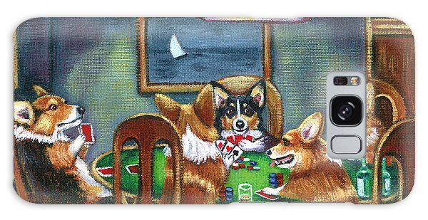 Cartoon Galaxy Case - The Corgi Poker Game by Lyn Cook