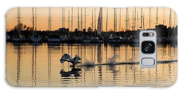 The Golden Takeoff - Swan Sunset And Yachts At A Marina In Toronto Canada Galaxy Case by Georgia Mizuleva