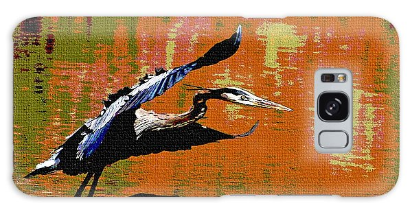 The Great Blue Heron Jumps To Flight Galaxy Case by Tom Janca