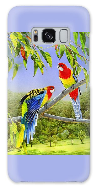 The Happy Couple - Eastern Rosellas  Galaxy Case by Frances McMahon