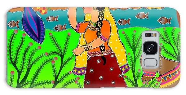 The Lonely Radha-madhubani Style-digital Galaxy Case by Latha Gokuldas Panicker