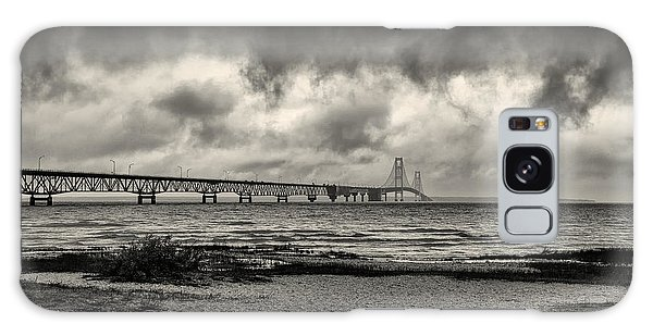 The Mackinac Bridge B W Galaxy Case