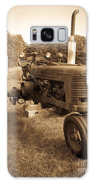 The Old Tractor Sepia Galaxy Case