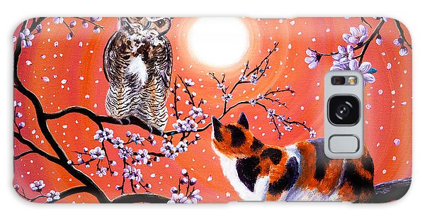 Calico Cat Galaxy Case - The Owl And The Pussycat In Peach Blossoms by Laura Iverson