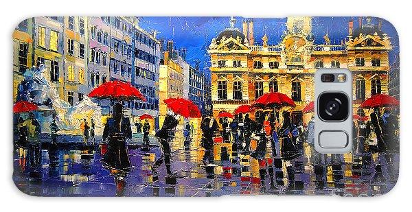Board Walk Galaxy Case - The Red Umbrellas Of Lyon by Mona Edulesco