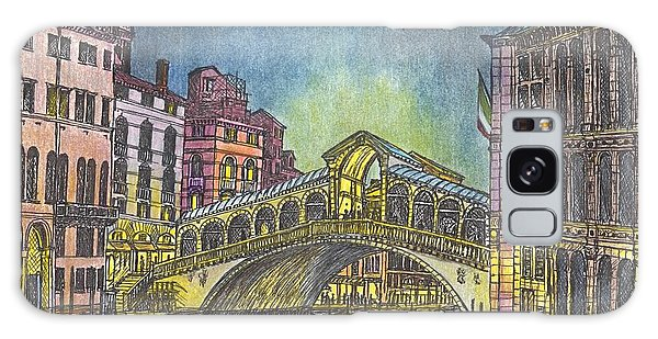 Relections Of Light And The Rialto Bridge An Evening In Venice  Galaxy Case