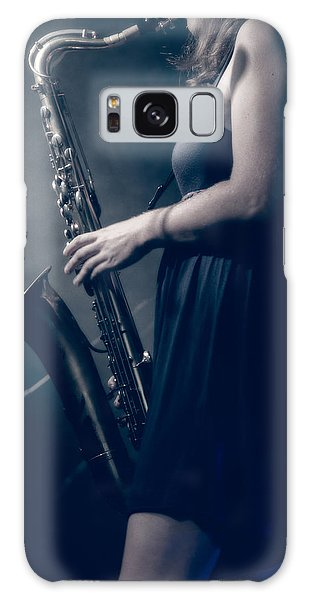 The Saxophonist Sounds In The Night Galaxy Case by Bob Orsillo