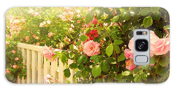 The Scent Of Roses And A White Fence Galaxy Case
