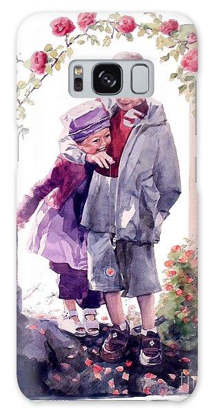 Watercolor Of A Boy And Girl In Their Secret Garden Galaxy Case