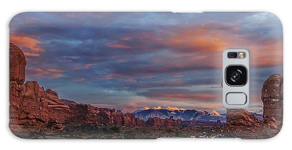 The Sun Sets At Balanced Rock Galaxy Case by Roman Kurywczak