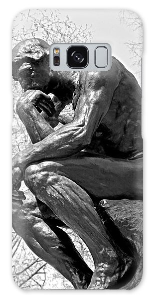 The Thinker In Black And White Galaxy Case by Lisa Phillips
