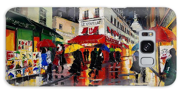 Board Walk Galaxy Case - The Umbrellas Of Montmartre - Paris Impressionism Palette Knife Cityscape by Mona Edulesco