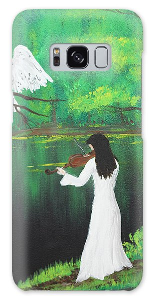 The Violinist By The River   Galaxy Case by Patricia Olson