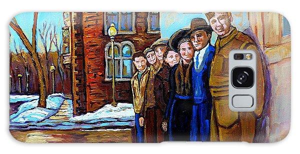 The War Years 1942 Montreal St Mathieu And De Maisonneuve Street Scene Canadian Art Carole Spandau Galaxy Case by Carole Spandau