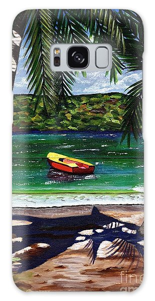 The Yellow And Red Boat Galaxy Case by Laura Forde