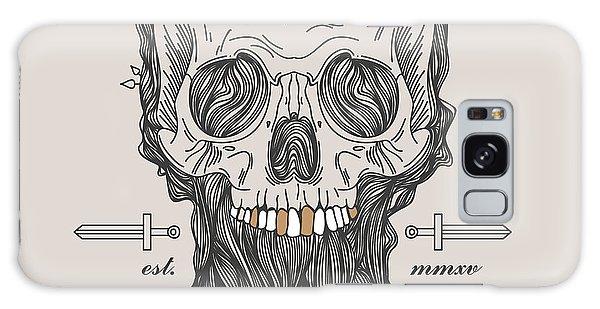 Bone Galaxy Case - Thin Line Skull Label. Retro Vector by Karnoff