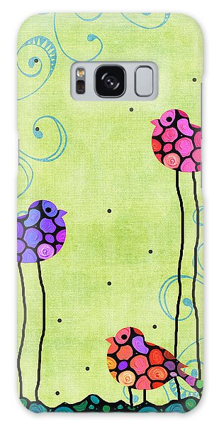 Finch Galaxy S8 Case - Three Birds - Spring Art By Sharon Cummings by Sharon Cummings