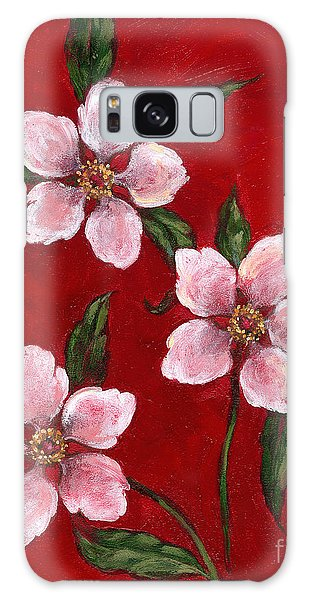 Three Blossoms On Red Galaxy Case