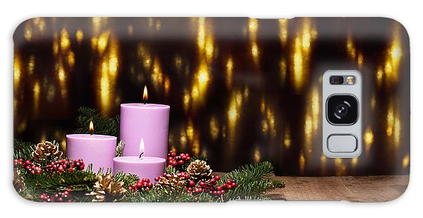 Three Candles In An Advent Flower Arrangement Galaxy Case